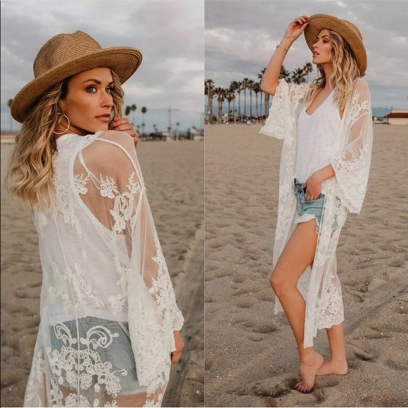 5a39f1a375 Swim   White Lace Mesh Cover Up Kimono Cardigan   Poshmark